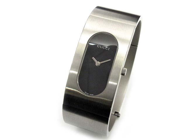 グッチ GUCCI 2400L バングル ウォッチ 腕時計 クォーツ ブラック シルバー YA024503 美品 レディース 【中古】【ベクトル 古着】 180406 古着 買取&販売 ベクトルイズム