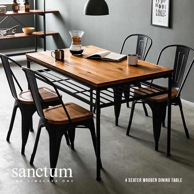 ダイニングテーブル 4人掛け おしゃれ 食卓テーブル 木製テーブル 幅120cm×75cm 高さ76cm 天然木 無垢材 ヴィンテージ アンティーク レトロ カフェ風 インダストリアル ブルックリンスタイル 西海岸風