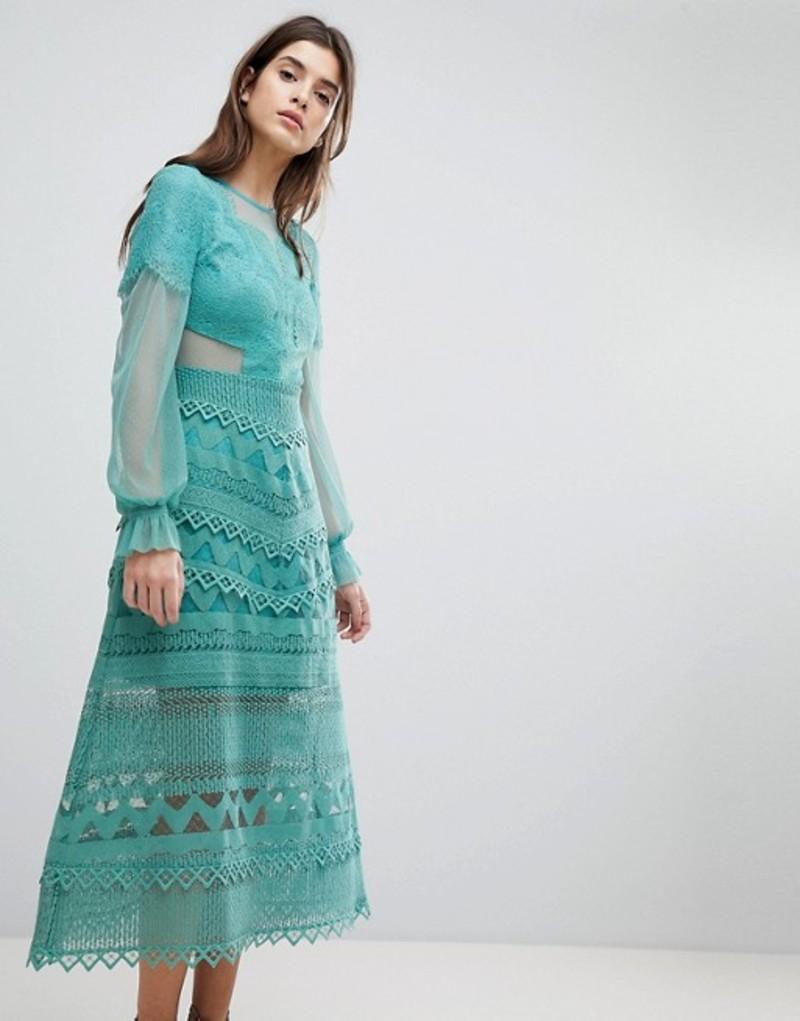 スリーフロア レディース ワンピース トップス Three Floor Lace Midi Dress With Bell Sleeves Sage green