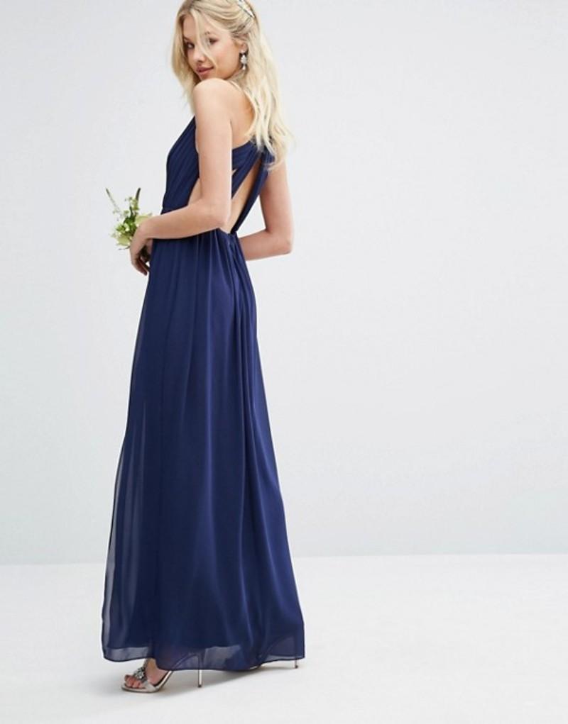 ティエフエヌシー レディース ワンピース トップス TFNC WEDDING Pleated Maxi Dress With Back Detail Navy