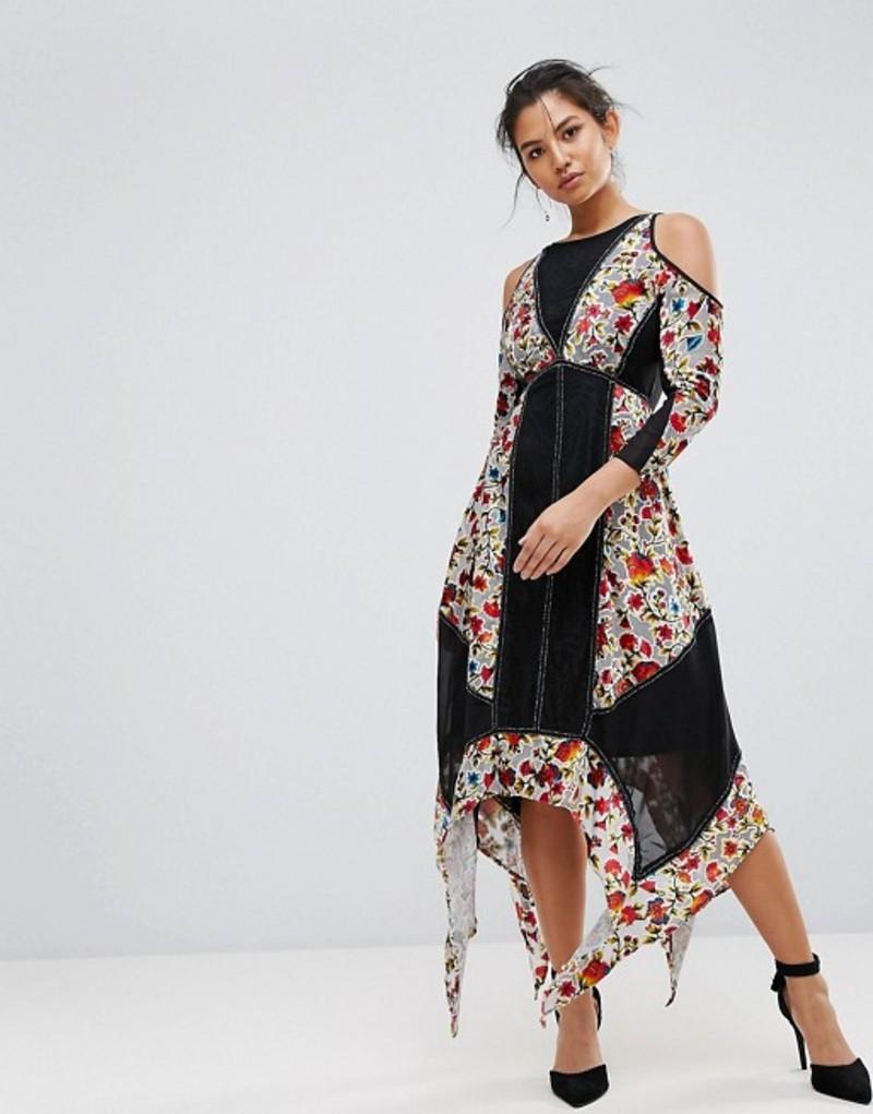 フロック レディース ワンピース トップス Frock And Frill Floral Printed Velvet Hanky Hem Dress With Cold Shoulder Multi