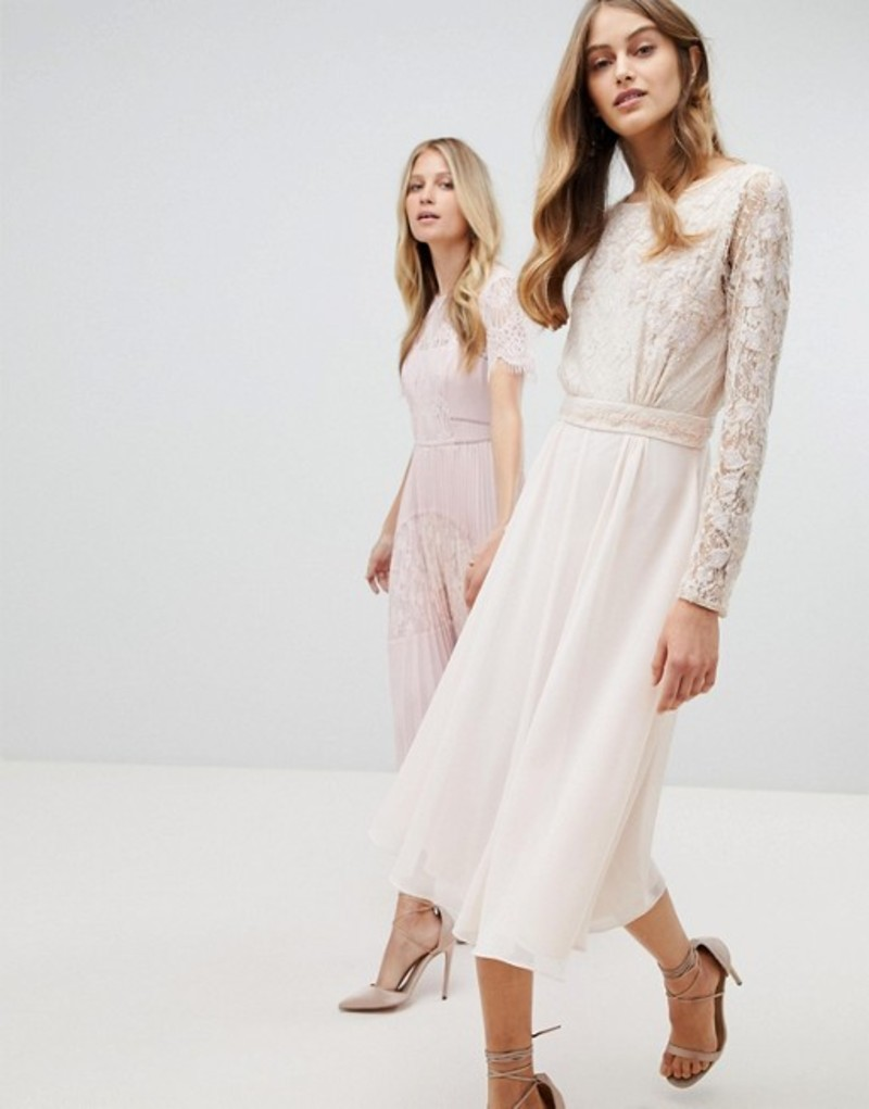 アメリアローズ レディース ワンピース トップス Amelia Rose Embroidered Long Sleeve Midi Dress With Plunge Back Detail Nude