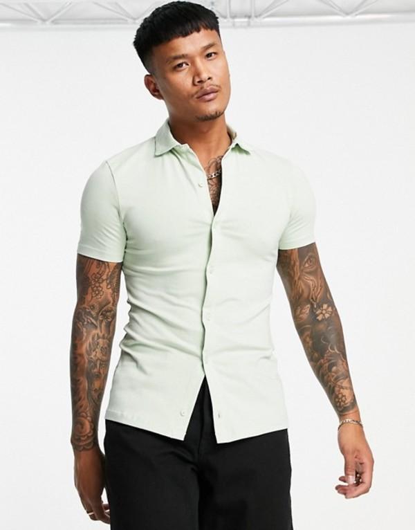 送料無料 サイズ交換無料 エイソス 奉呈 メンズ トップス シャツ Bok choy ASOS in button organic through jersey light 往復送料無料 green shirt DESIGN