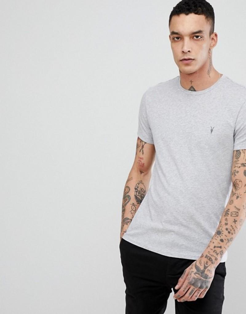 オールセインツ メンズ Tシャツ トップス AllSaints T-Shirt In Gray Marl With Logo Grey marl