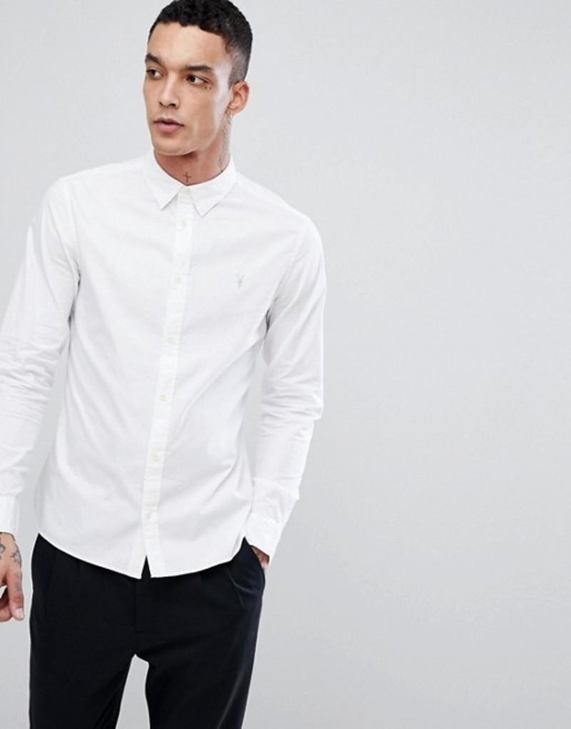 オールセインツ メンズ シャツ トップス AllSaints Long Sleeve Shirt In Poplin White