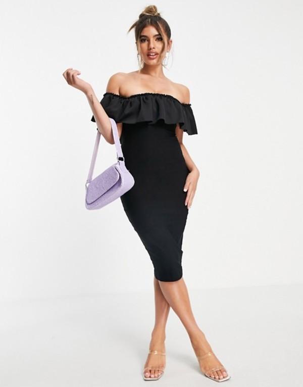 送料無料 サイズ交換無料 ベスパー レディース トップス ワンピース Black 4年保証 Vesper 最新号掲載アイテム in ruffle midi body-conscious black dress with detail