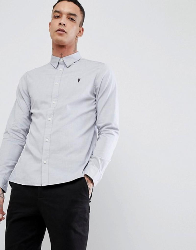 オールセインツ メンズ シャツ トップス AllSaints Long Sleeve Shirt In Poplin Light grey