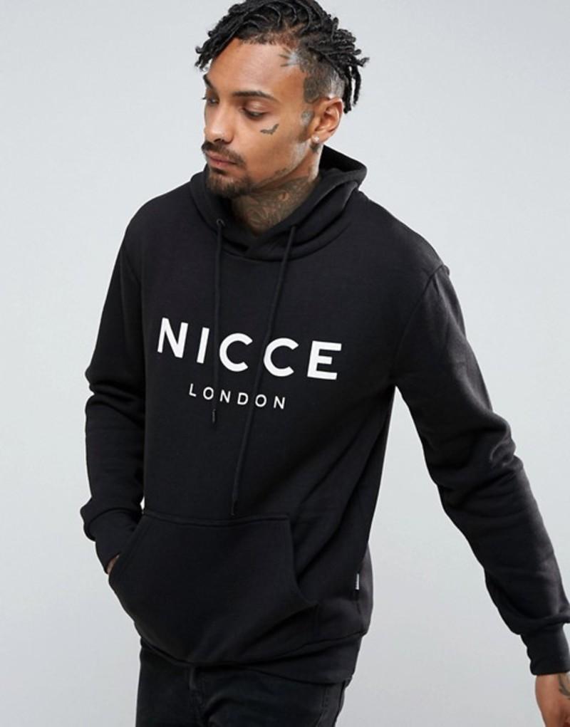 ニースロンドン メンズ パーカー・スウェット アウター Nicce London Hoodie In Black With Large Logo Black