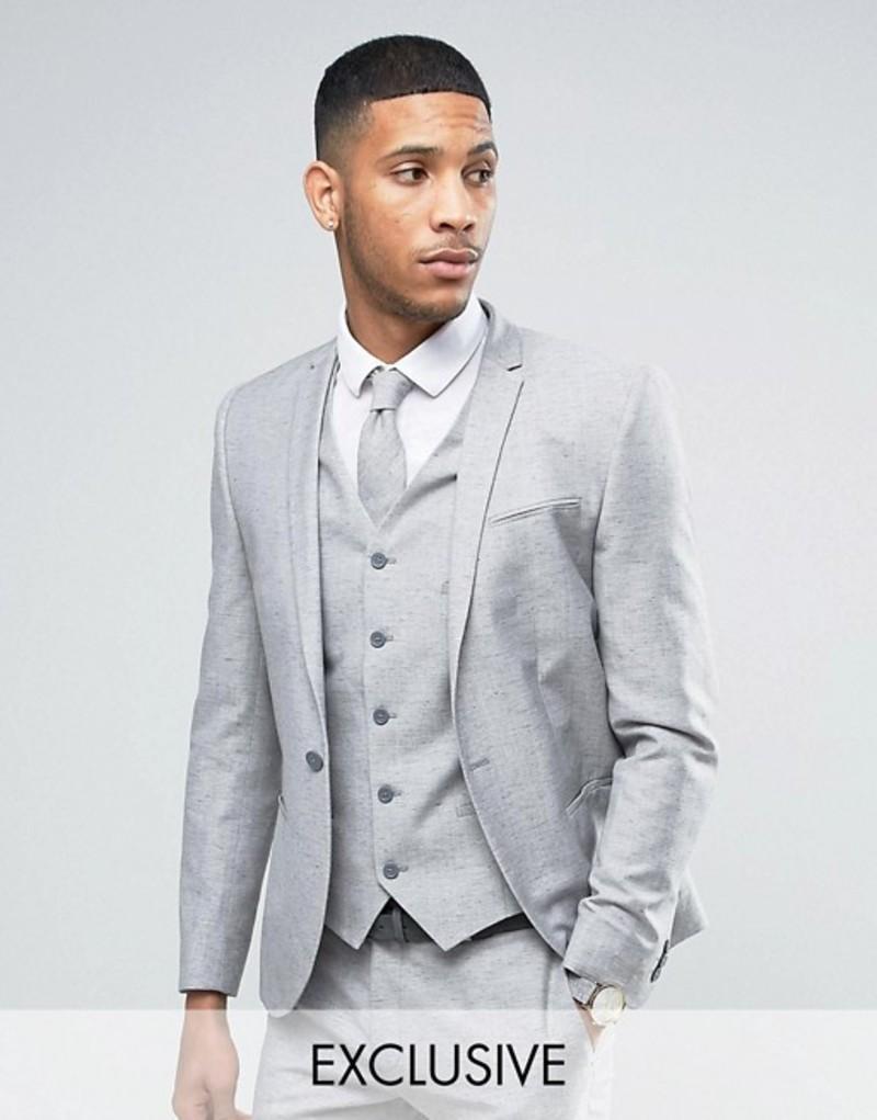 ノーク メンズ ジャケット・ブルゾン アウター Noak Wedding Skinny Suit Jacket In Linen Nepp Grey