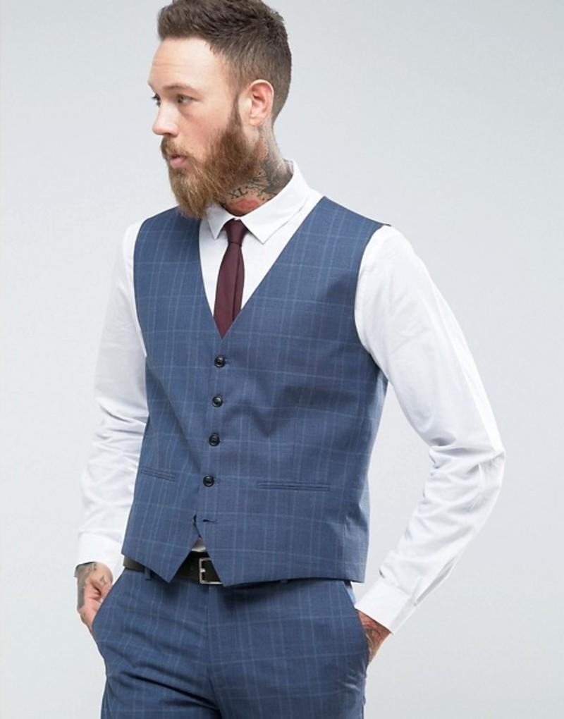 セレクテッドオム メンズ タンクトップ トップス Selected Homme Skinny Wedding Vest In Blue Check Blue nights