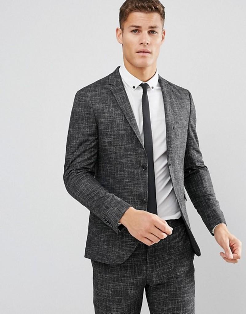ジャック アンド ジョーンズ メンズ ジャケット・ブルゾン アウター Jack & Jones Premium Slim Suit Jacket In Crosshatch Charcoal