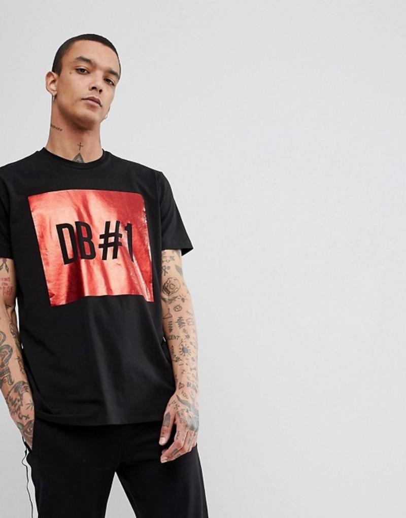 ビッケンバーグス メンズ Tシャツ トップス Bikkembergs Long Line Foil Print T-Shirt with Side Zips Black
