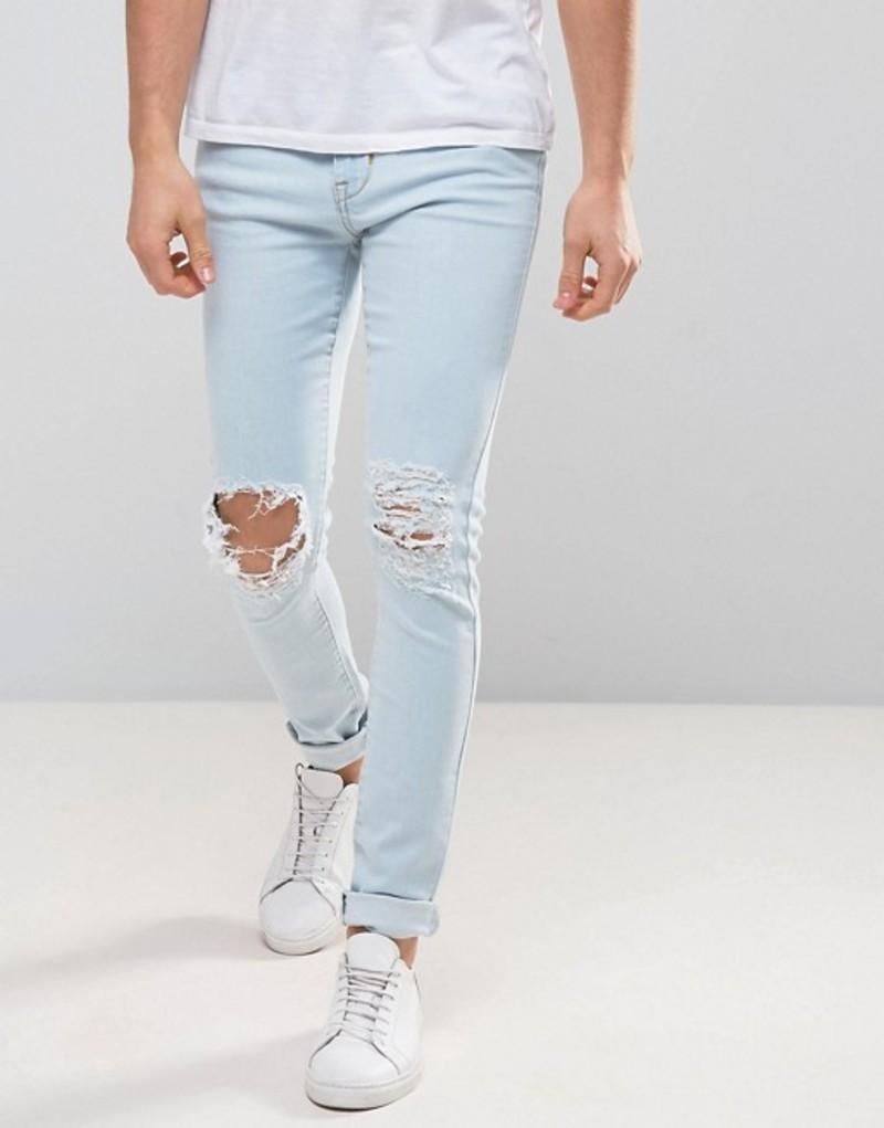 ドクターデニム メンズ デニムパンツ ボトムス Dr Denim Leroy Ripped Super Skinny Jeans Light void blue