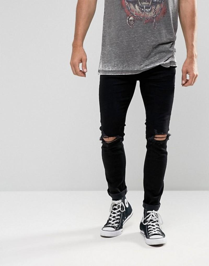 ロラス メンズ デニムパンツ ボトムス Rollas Stinger Super Skinny Jeans Black Ripped Knee Black rip