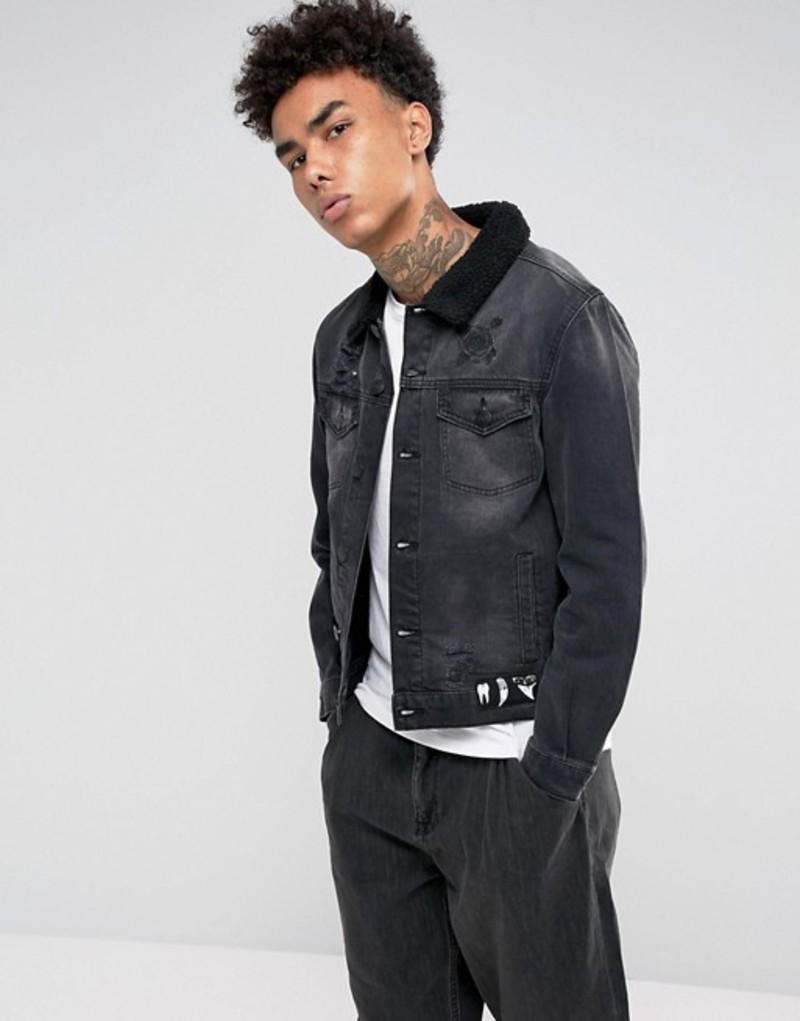 ケイラーアンドサン メンズ ジャケット・ブルゾン アウター Cayler & Sons Denim Jacket In Black With Fleece Lining Black