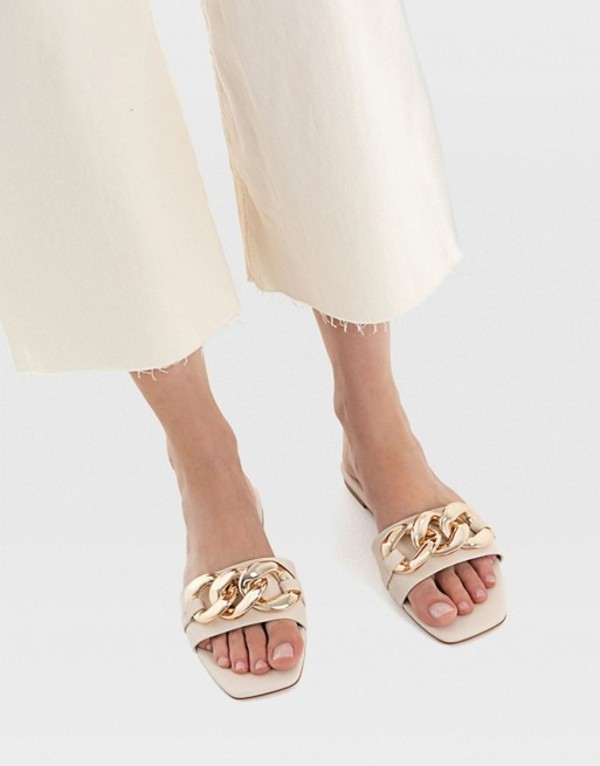 送料無料 サイズ交換無料 ストラディバリウス レディース シューズ サンダル CREAM ストラディバリウス レディース サンダル シューズ Stradivarius flat sandal with chunky chain detail in cream CREAM