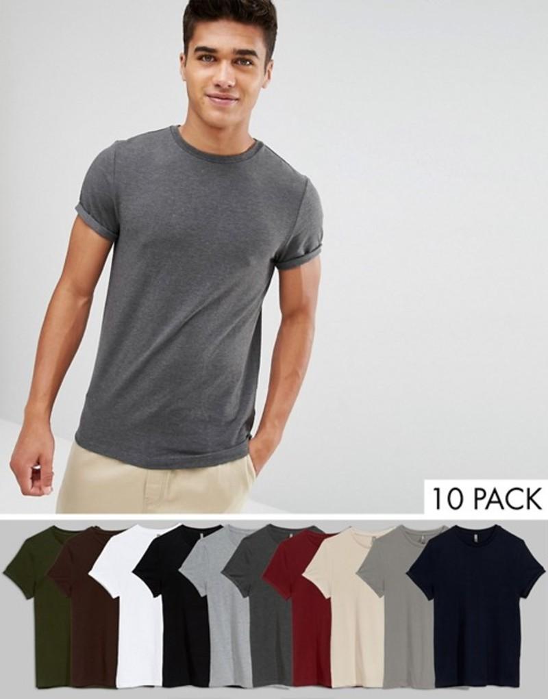 エイソス メンズ Tシャツ トップス ASOS Muscle Fit T-Shirt With Roll Sleeve 10 Pack SAVE W/b/g/c/s/r/h/b/s