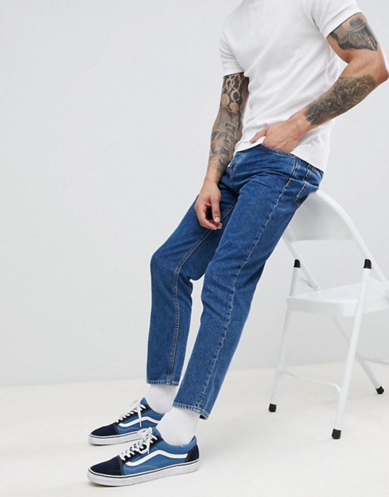 リバーアイランド メンズ デニムパンツ ボトムス River Island Tapered Jeans In Mid Wash Blue Mid blue