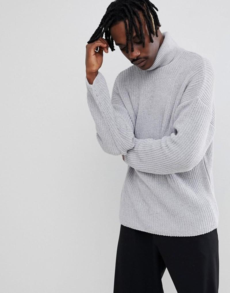 エイソス メンズ ニット・セーター アウター ASOS DESIGN relaxed fit roll neck sweater in gray Pale grey