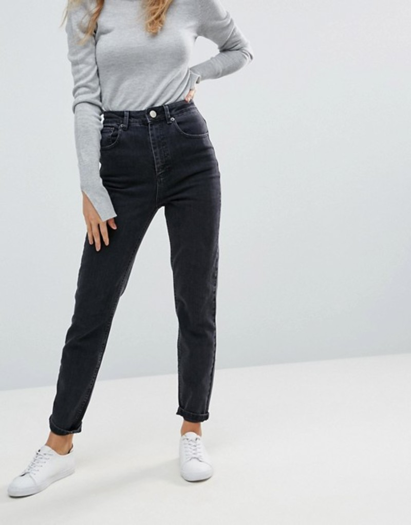 エイソス レディース デニムパンツ ボトムス ASOS DESIGN Farleigh high waist slim mom jeans in washed black Black