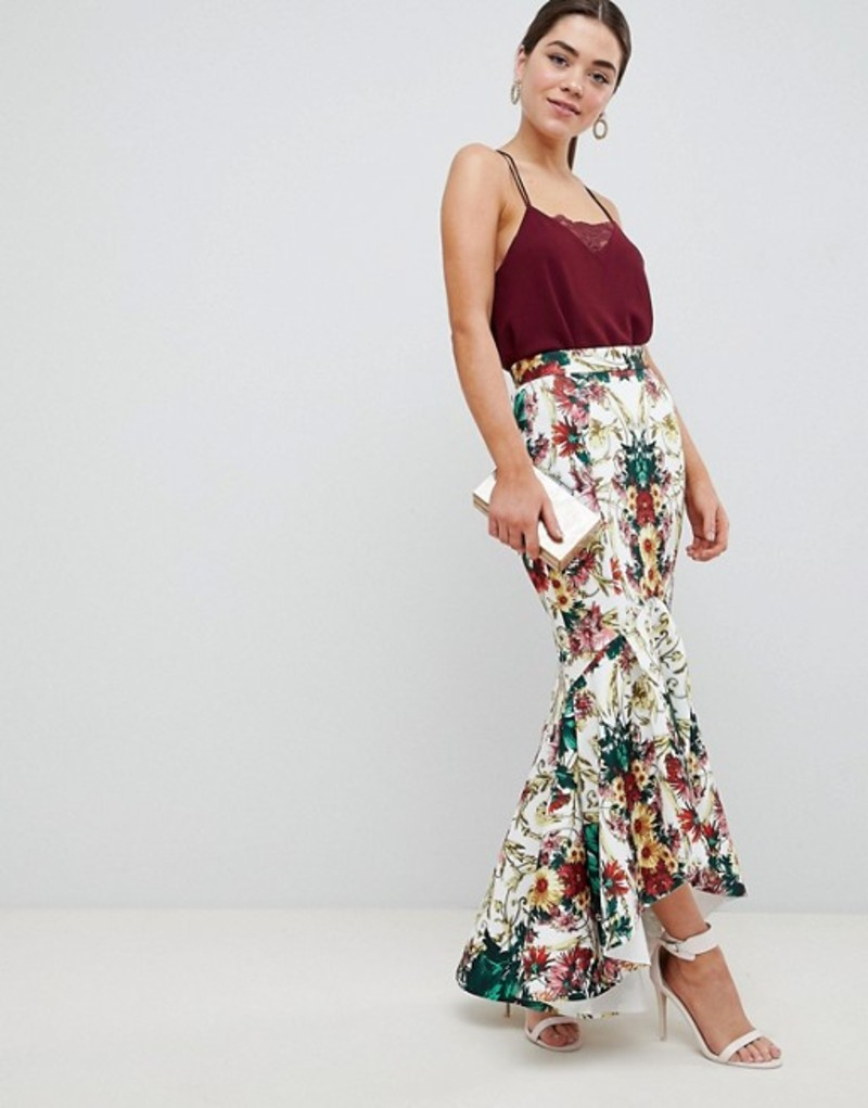 エイソス レディース スカート ボトムス ASOS DESIGN baroque print scuba midi skirt with dip back hem Multi