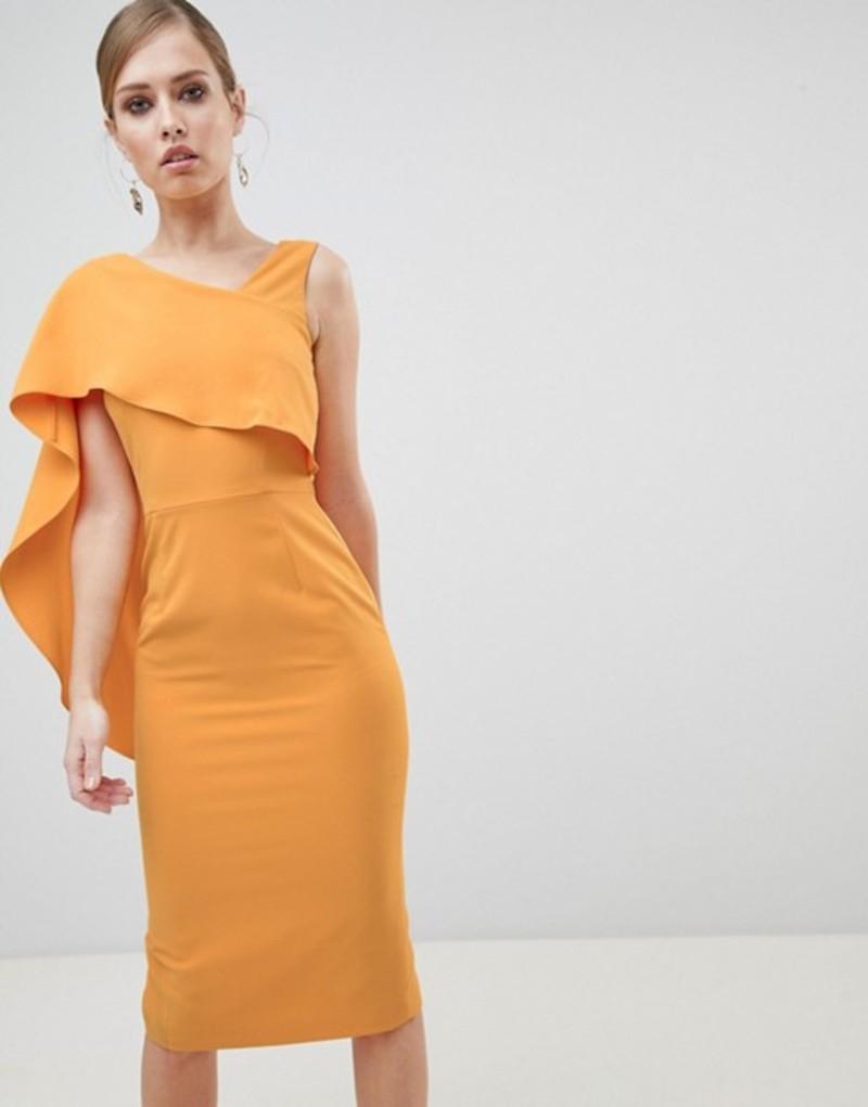ラビッシュアリス レディース ワンピース トップス Lavish Alice Midi Dress with Drape One Shoulder Tangerine