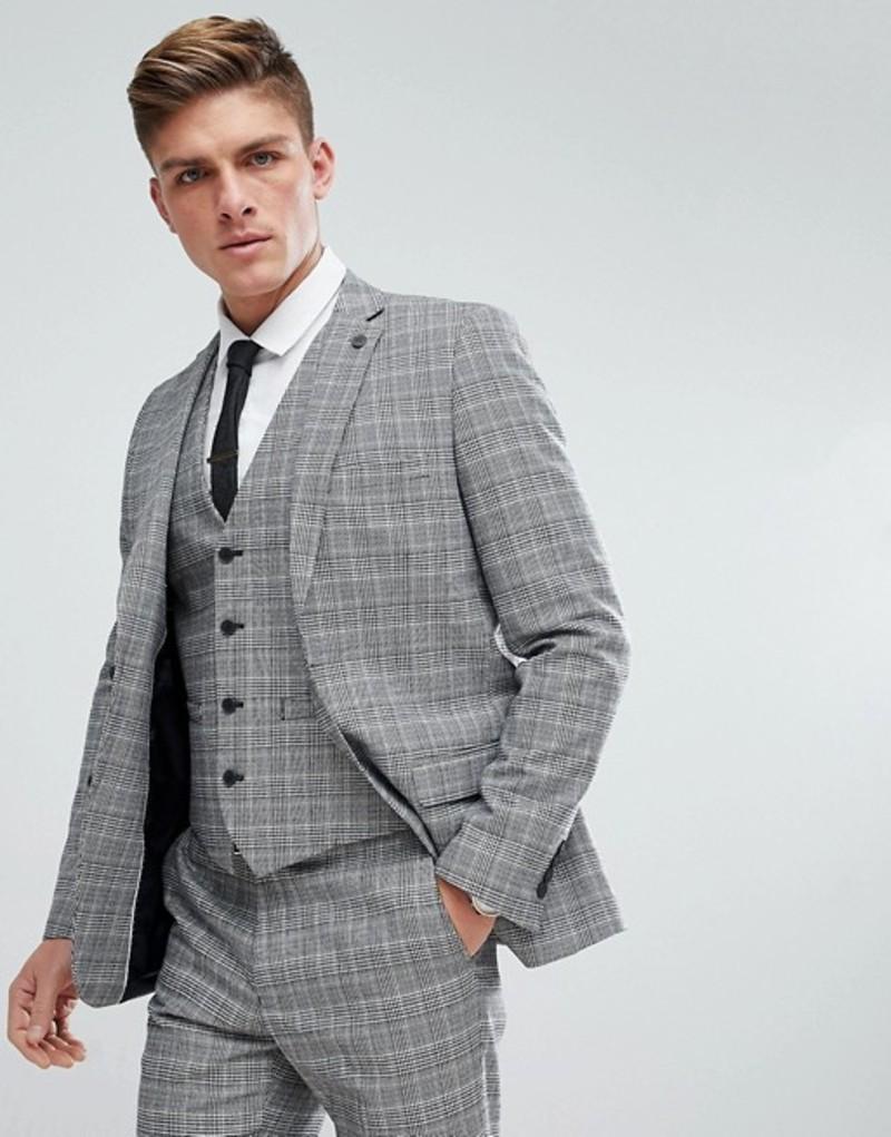 フレンチコネクション メンズ ジャケット・ブルゾン アウター French Connection Prince Of Wales Blue Check Slim fit Suit Jacket Grey