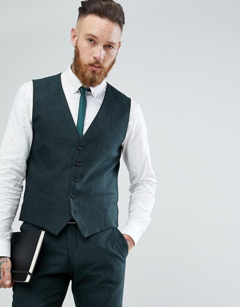 セレクテッドオム メンズ タンクトップ トップス Selected Homme Skinny Vest In Forest Green Dark green