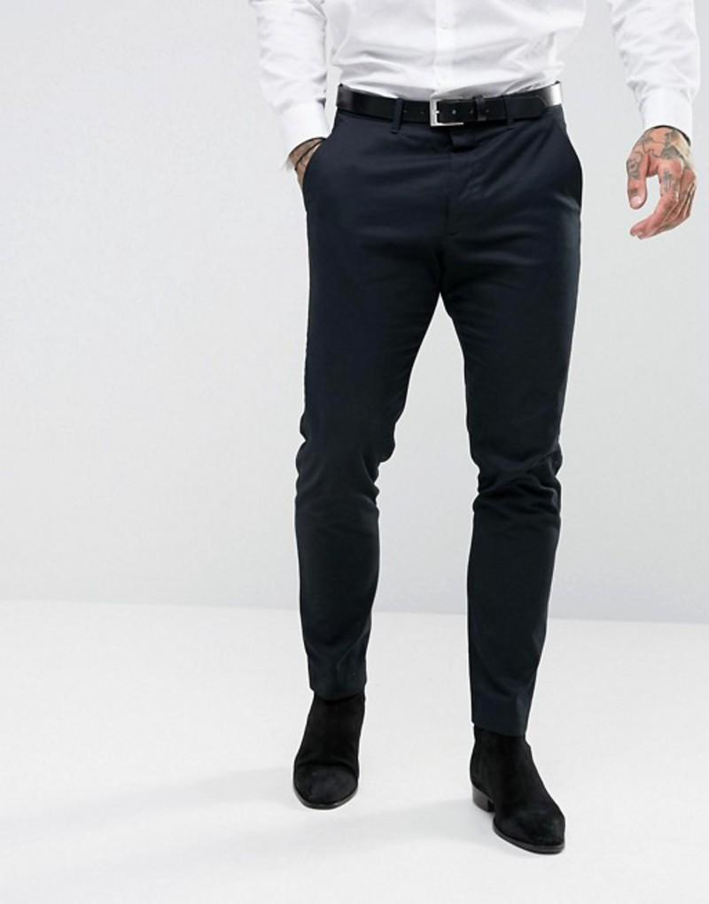 オールセインツ メンズ カジュアルパンツ ボトムス AllSaints Slim Fit Suit Pant Ink navy