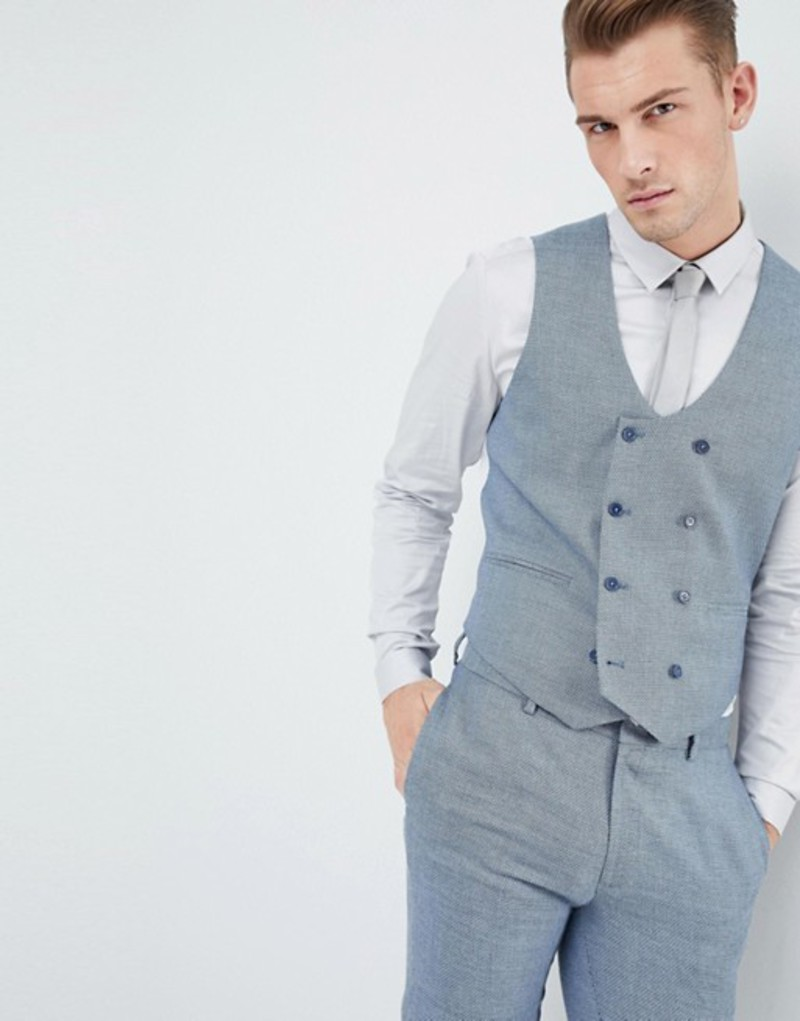 エイソス メンズ タンクトップ トップス ASOS Wedding Skinny Suit Vest In Airforce Blue Micro Texture Blue