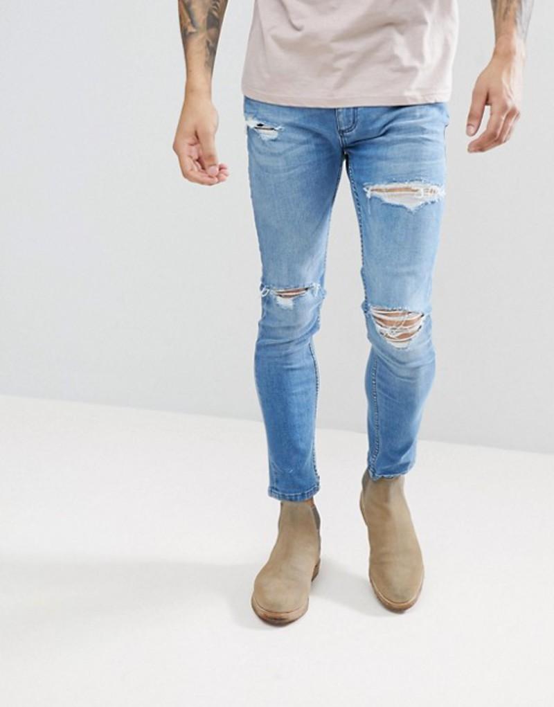ロラス メンズ デニムパンツ ボトムス Rollas Ripped Tapered Jeans Corolla blue