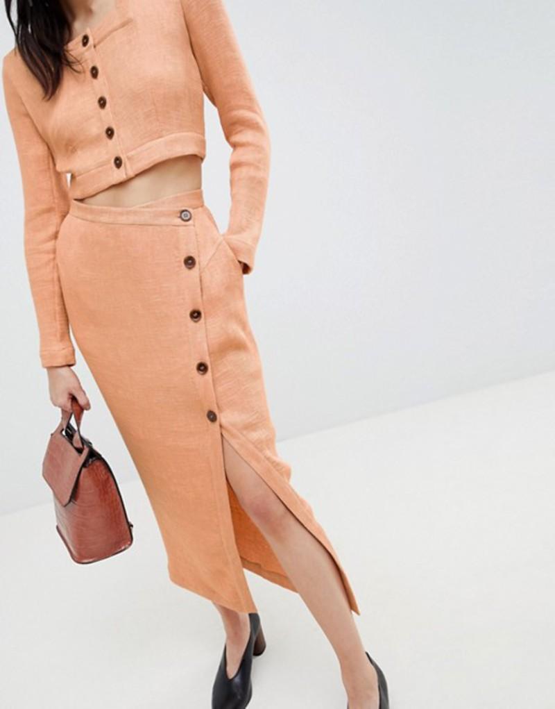 エイソス レディース スカート ボトムス ASOS WHITE Pleated Button Through Two-piece Skirt Peach