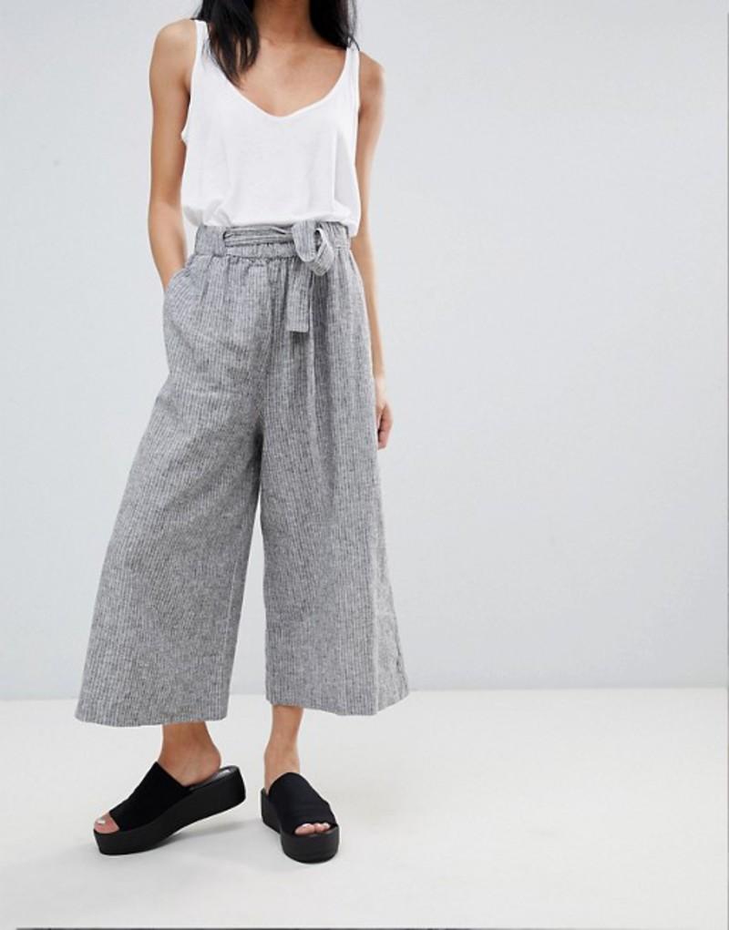 プルアンドベアー レディース カジュアルパンツ ボトムス Pull&Bear Tailored Wide Leg PANTS With Tie Waist Grey