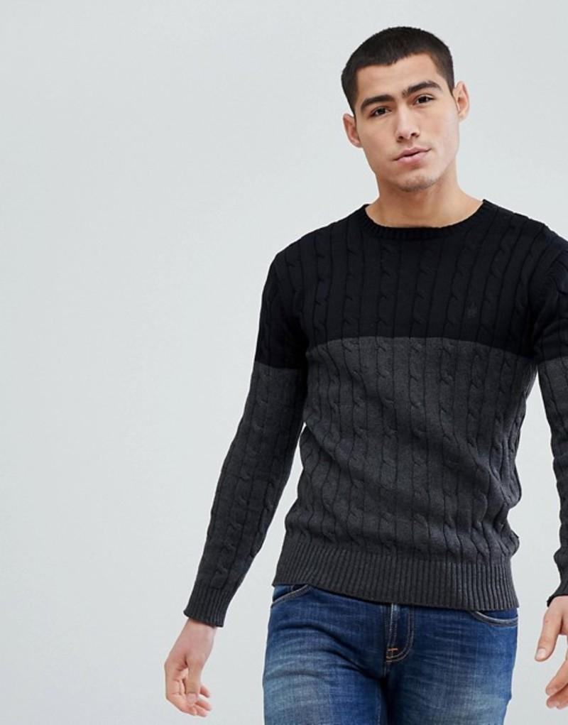 フレンチコネクション メンズ ニット・セーター アウター French Connection Cable Knit Block Sweater Black