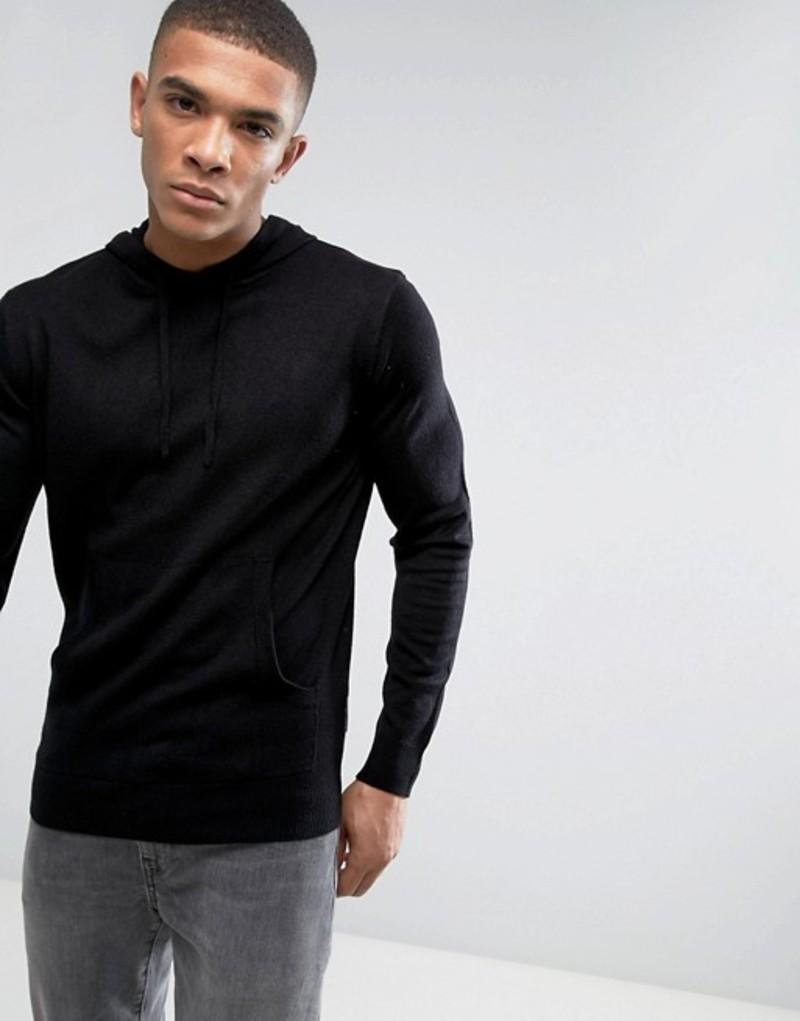 フレンチコネクション メンズ ニット・セーター アウター French Connection Knitted Sweater with Hood Black