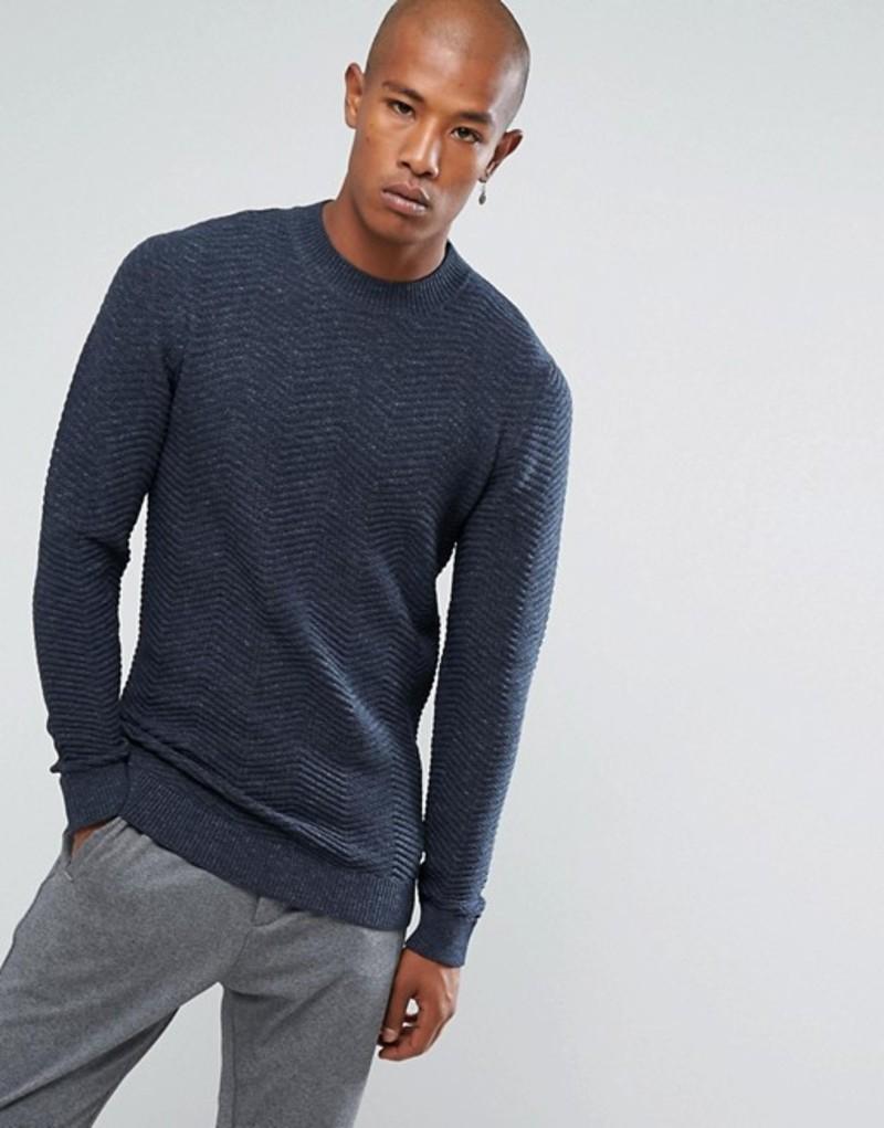 セレクテッドオム メンズ ニット・セーター アウター Selected Homme Knitted Hign Neck Sweater With Texture Detail In 100% Cotton Dark saphire