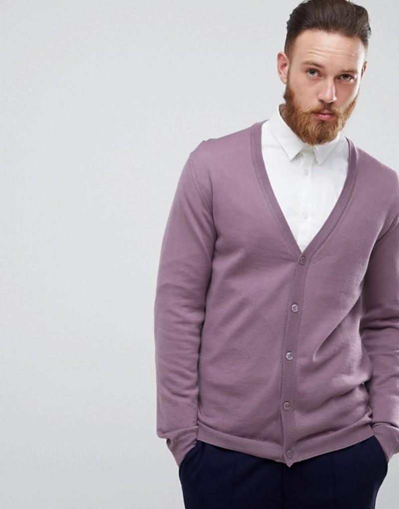エイソス メンズ カーディガン アウター ASOS Merino Wool Cardigan In Lilac Lilac