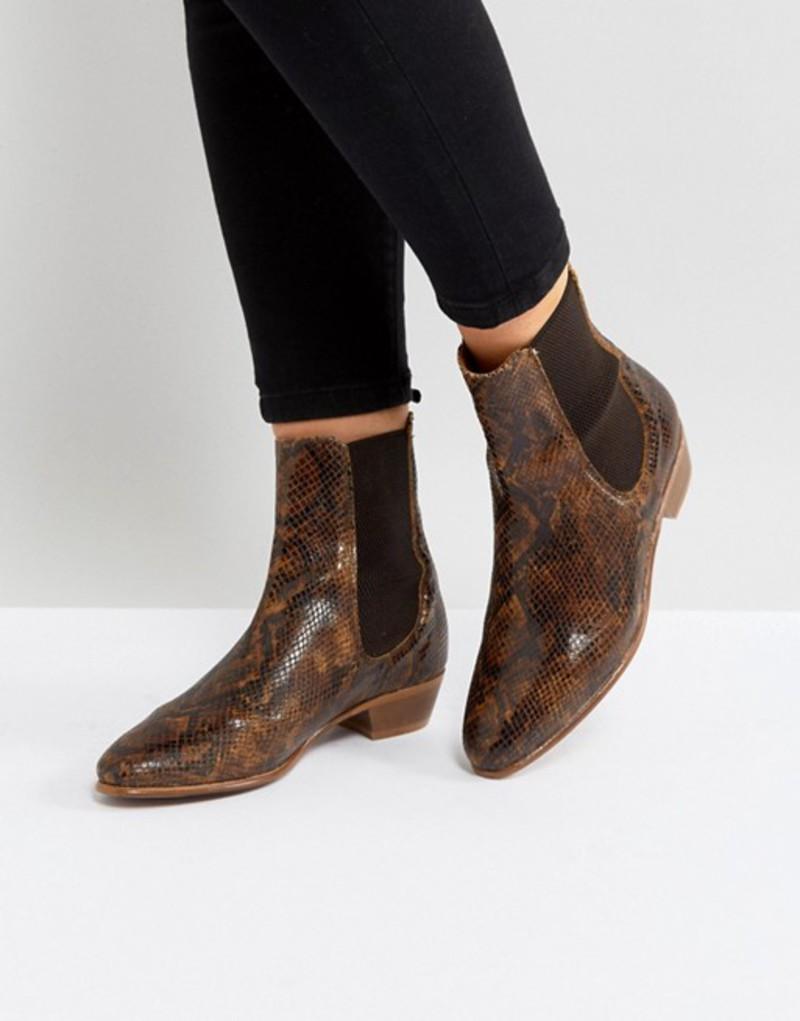エイチ バイ ハドソン レディース ブーツ・レインブーツ シューズ Hudson London Kenny Tan Snake Ankle Boots Tan