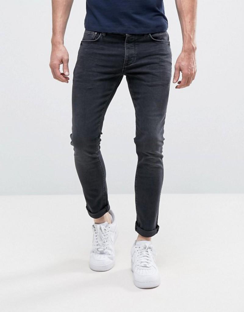 リバーアイランド メンズ デニムパンツ ボトムス River Island Skinny Jeans In Washed Black Black