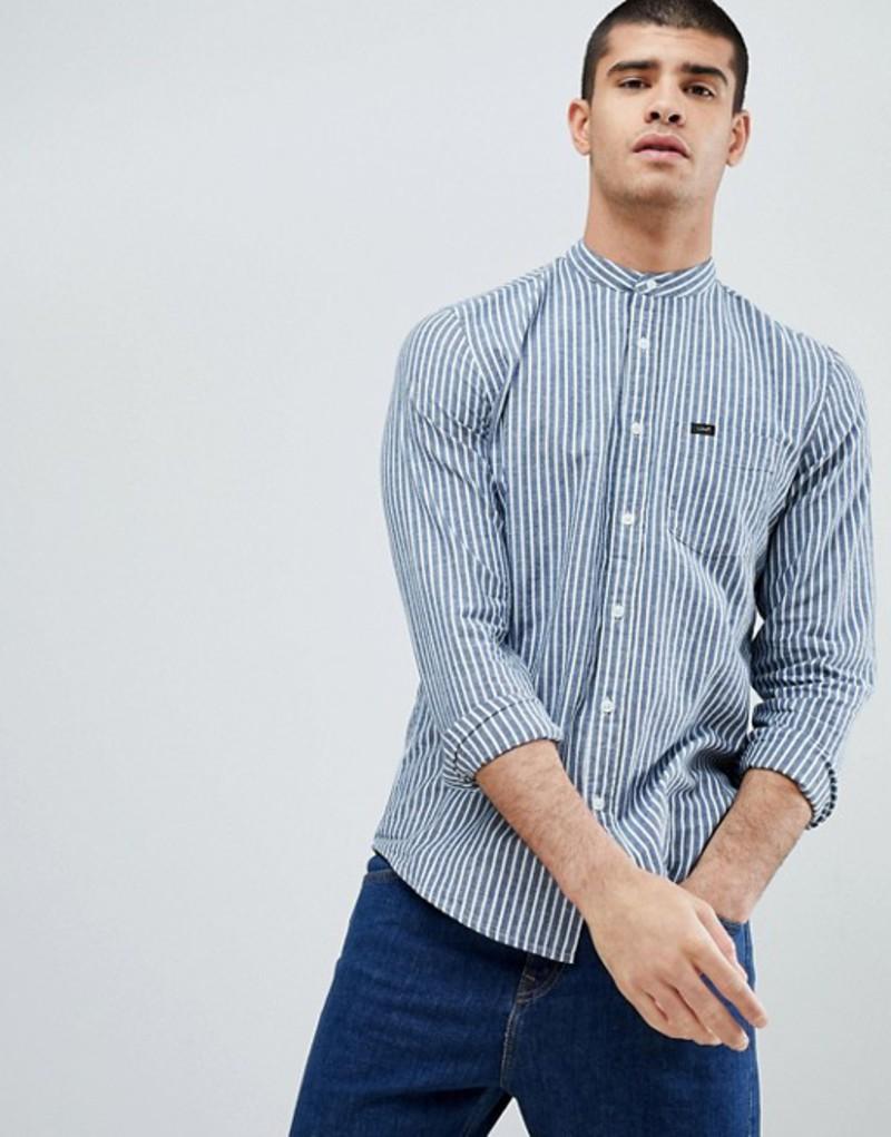 リー メンズ シャツ トップス Lee Grandad Collar Stripe Shirt Blue