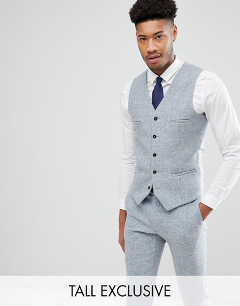 ノーク メンズ タンクトップ トップス Noak TALL Skinny Vest In Harris Tweed Blue
