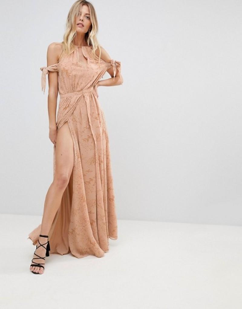 ジェットセットダイアリーズ レディース ワンピース トップス The Jetset Diaries Sierra Lace Thigh Split Cold Shoulder Maxi Dress Floral