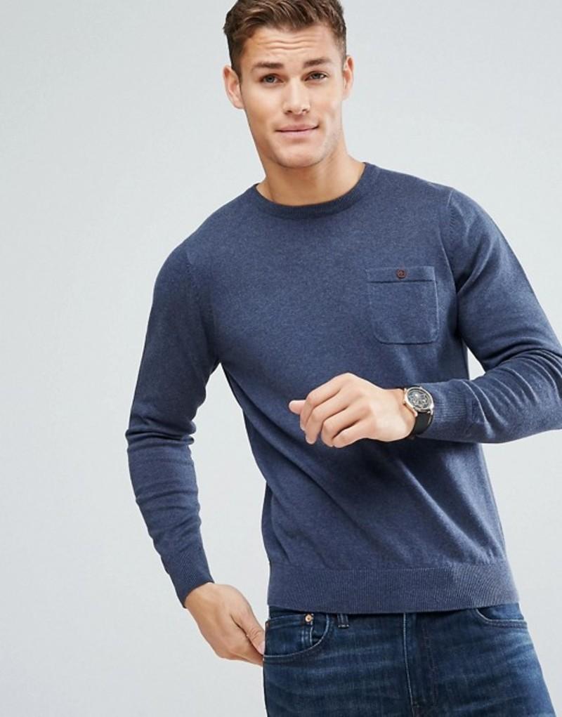 ベンシャーマン メンズ ニット・セーター アウター Ben Sherman Long Sleeve Pocket Knit Sweater Blue