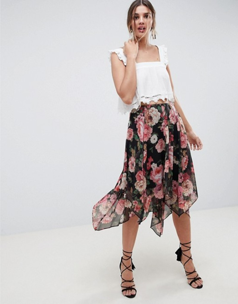 エイソス レディース スカート ボトムス ASOS DESIGN soft floral print midi skirt with layered hanky hem Multi