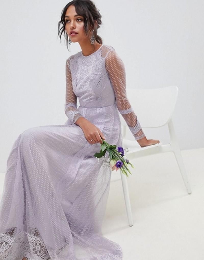 エイソス レディース ワンピース トップス ASOS DESIGN Bridesmaid Dobby Mesh And Lace Mix Long Sleeve Maxi Dress Lilac