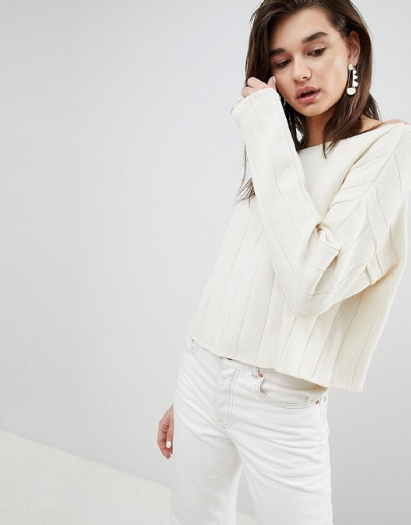 エイソス レディース ニット・セーター アウター ASOS DESIGN eco off shoulder cropped sweater in oversized rib Cream