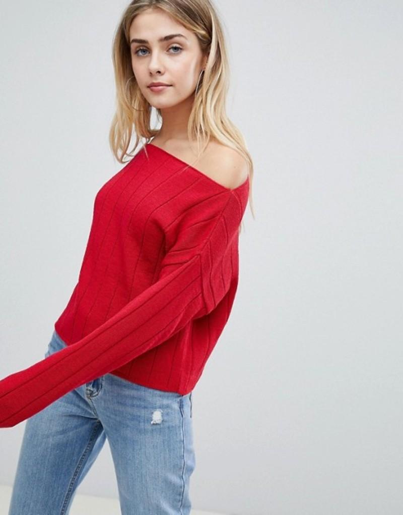 エイソス レディース ニット・セーター アウター ASOS DESIGN eco off shoulder cropped sweater in oversized rib Red