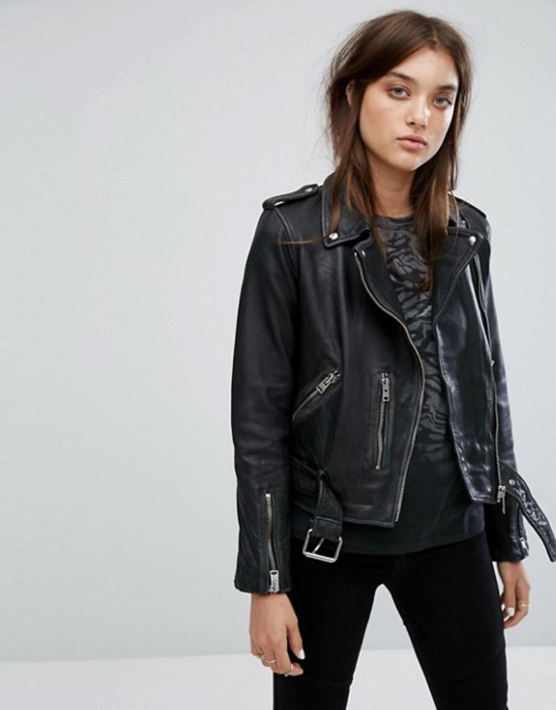オールセインツ レディース ジャケット・ブルゾン アウター AllSaints Vintage Leather Balfern Biker Jacket Black