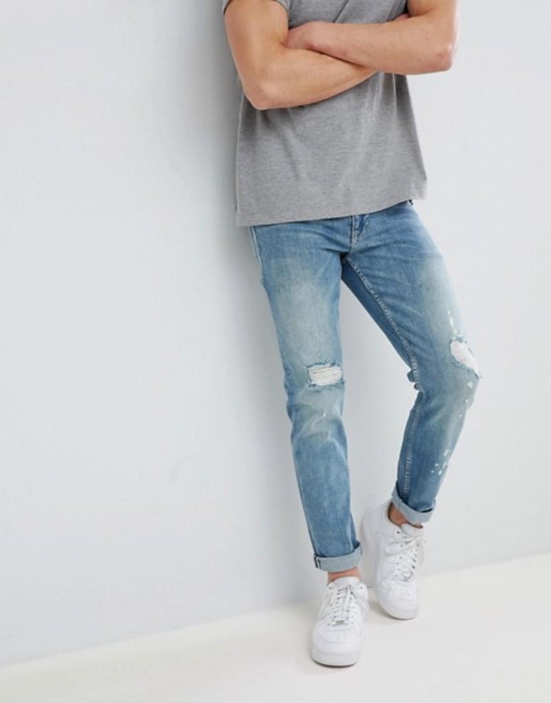 エイソス メンズ デニムパンツ ボトムス ASOS DESIGN Slim Jeans In Mid Wash Blue With Rips Mid wash blue