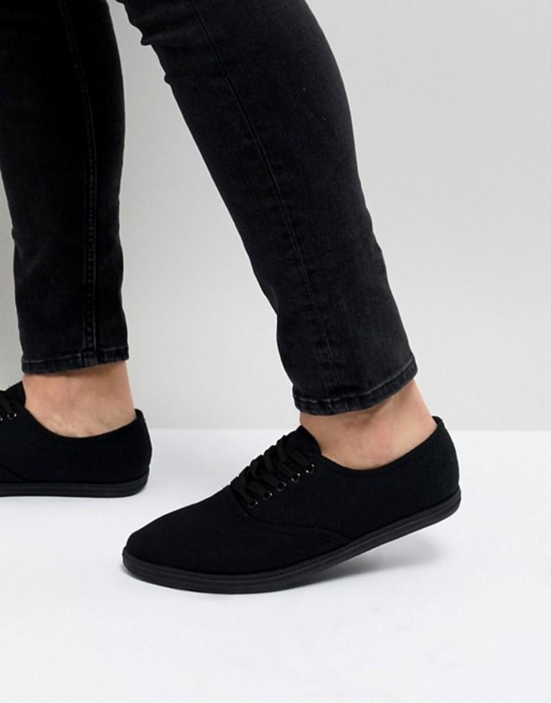 エイソス メンズ スニーカー シューズ ASOS DESIGN Sneakers In Black Canvas Black